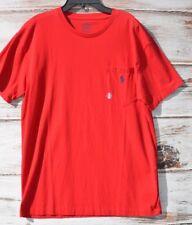 POLO RALPH LAUREN Men's T SHIRT Short Sleeve CREW Neck RED Med POCKET New $39