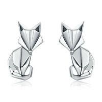 Boucles D'Oreilles Mode Pliant Fox Animal Clou Femme 925 Argent Sterling