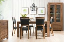 Dining Room Furniture Set Extending Table Oak finish 4 Chairs black faux leather