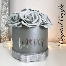 'Shades Of Grey' Everlasting Forever Faux Foam Grey Roses In Small Grey Hat Box