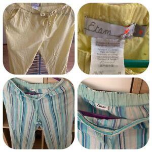 1 pantalon de pyjama vert + 1 pantacourt blanc & bleu Taille M/38 marque Etam