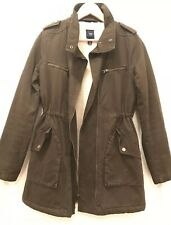 Gap Utility Jacket Khaki Green Faux Shearling Lining Size XS Adjustable Waist