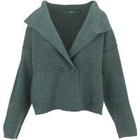 Cardigan Lambs Wool Blend Collar Neck Grey Jacket BOHEMIA Womens Ladies