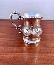 EARLY COIN SILVER HANDLED CUP OR MUG c.1840-60 REPOUSSE FLORAL PATTERN 96.7G