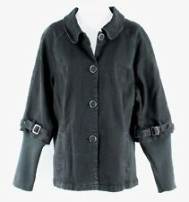 Motto Sz L Black Denim Detachable Rib Knit Sleeve Cotton Blend Jacket C89