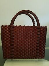 Authentic Mexican Hand Woven Plastic  Market Bag Purse burgundy NEW
