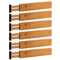 Adjustable Drawer Dividers Set 6 Bamboo Organizer Kitchen Expandable Tool