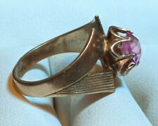 ☭ VTG Ring GOLD plated gilt Silver 875 USSR Synthetic ruby Star Russian Soviet
