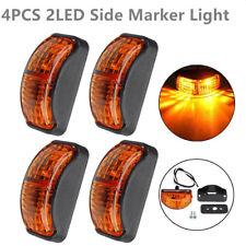 4x Amber 2LED Side Marker Light Blinker For Truck Trailer Van Waterproof 12V-24V
