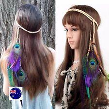 Women BOHO Syn suede Feather Peacock Braided Beach Hair head band Headband Prop