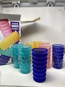 VTG NEW Frosted Wave Tumblers 8 Pc 28 oz. Acrylic Tall Cups Retro Party