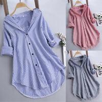 Women Chic Stripe Long Sleeve Turn-down Collar Button Loose Top Shirt Blouse  WE