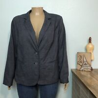 Lane Bryant Blazer Jacket 26 Woman Plus Navy Blue Plaid 2 Button Front Lined