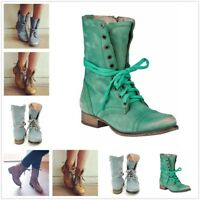 New Motorcycle Biker Women Lace Up Flat Ankle Martin Boots Combat Military Shoes