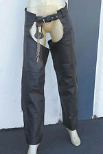 WOMANS MED SIZE BLACK LEATHER RIDING CHAPS HARLEY DAVIDSON MOTORCYCLING