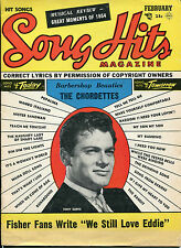 Song Hits Magazine Feb 1955 Tony Curtis on the Cover Chordettes etc..