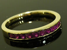 R165 CLASSIC 9ct SOLID Gold NATURAL Ruby ETERNITY Wedding Band Ring size M