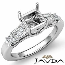 Diamond Three Stone Wedding Ring Platinum 950 Princess Baguette Semi Mount 0.5Ct