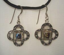 Sterling Silver & Genuine Abalone Shell Fishhook Style Dangle/Drop Earrings NEW