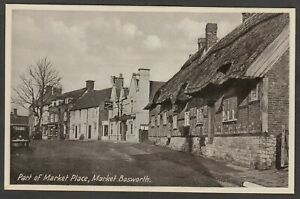 Postcard Market Bosworth nr Leicester motor car BBC 80 in Part of Market Place