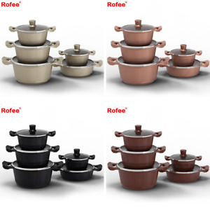 Non Stick Stockpot  Ceramic Coated Cooking Pot With Handles Glass Lid 5 pice set