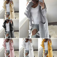 Womens Open Front Long Cardigan Chunky Cable Knit Sweater Pocket Coat Top Jacket