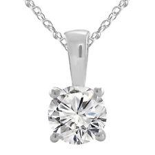 10K White Gold Finish Pendant Necklaces 1.05 Ct Round Cut Sim.Diamond Solitaire