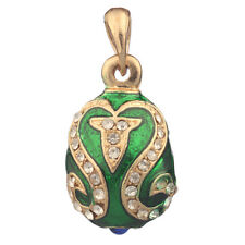 Faberge Egg Pendant / Charm with crystals 2.4 cm green #5801-08