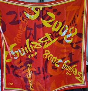 Beijing 2008 Olympic Licensed Red Silk Scarf 36.5 inch square scarf