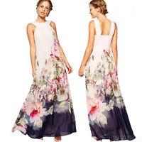 Fashion Women Sleeveless Dress Casual Floral Long Halter Neck Beach Long Dresses