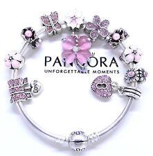 Authentic Pandora Bracelet Silver Bangle Pink Love Heart Flower European Charms.