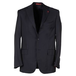 Isaia 'Nuova Base S' Solid Charcoal Gray Aquaspider Wool Suit 38R (Eu 48)