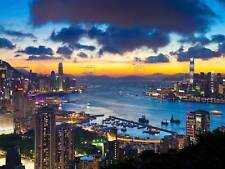 HONG KONG CITYSCAPE SKYLINE NIGHT PHOTO ART PRINT POSTER PICTURE BMP1156A