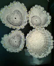 Set 4 White Wicker Daisy Basket - 3 Heart Shape 1 Round Home Gift Wedding Easter