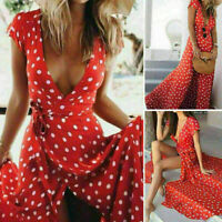 Women Deep V Long Maxi Boho Dresses Summer Evening Party Cocktail Beach Dress