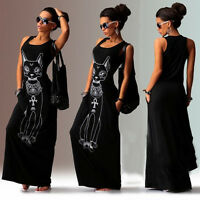 Womens Sleeveless Bodycon Casual Party Evening Long Maxi Dress Beach Sundress