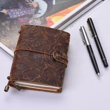 Leather Notebook Journal Vintage Leather Travel Diary Notepad Blank Paper C2F6