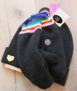 BETSEY JOHNSON Rainbow Hat Gloves Set One Size Winter Set New