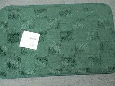 TWO GLENOIT Berber Fabric Kitchen Floor RugS Non Skid 18 x 30 HUNTER GREEN CHECK
