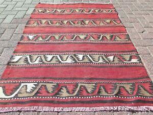 "Small Rugs, Vintage Turkish Sivas Small Kilim, Door Mat, Teppich, Carpet 39""x56"""