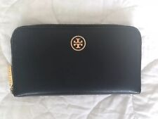 Auth Tory Burch Robinson Continental Saffiano Leather Wallet Black