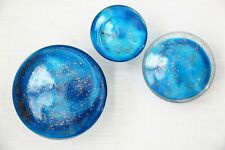 GLASS WALL MUSHROOMS, HANDMADE SET OF 3 BY GLOBAL VIEWS, BLUE & GOLD