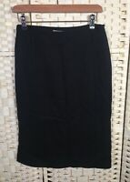 Burberry Black Straight Knee Length Wool Mix Skirt Splits 8/10 Zip Work Smart