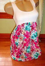 Forever 21 white floral color block stretch bubble hem dress w/ pockets - Size M