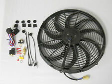 "16"" RADIATOR FAN 2600CFM SLIM LINE CURVED BLADE BLACK W/MOUNTING TIES & RELAY"