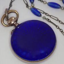 ANTIQUE ART DECO 800 & STERLING SILVER BLUE ENAMEL GLASS PENDANT WATCH NECKLACE