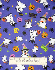 Halloween Costume Ghost Toss Kids Fabric 100% Cotton By The Yard Trick Or Treat