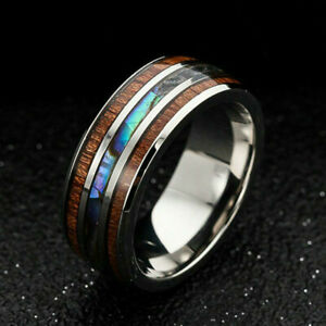 New Mens Tungsten Carbide Wooden Abalone Shell Seashell Band Ring Decor