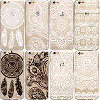 HENNA Dream Catcher Elephant Mandala Clear Phone Case iPhone 7 Plus 8 6 6S SE X
