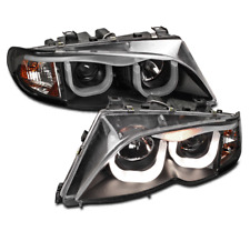 2002-2005 BMW 3-SERIES E46 4DR SEDAN LED PROJECTOR 3D DRL HEAD LIGHTS BLACK SET